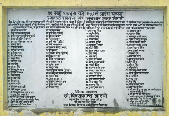 List of Meerut soldiers in 1857