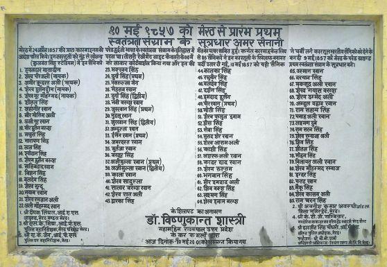 List of Meerut soldiers in 1857